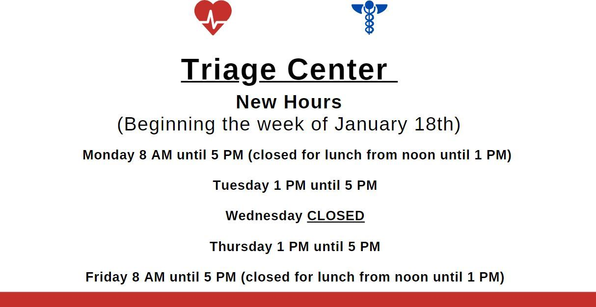 Triage Center Hours