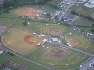Aerial view of the 7 field baseball complex at Hickey Park