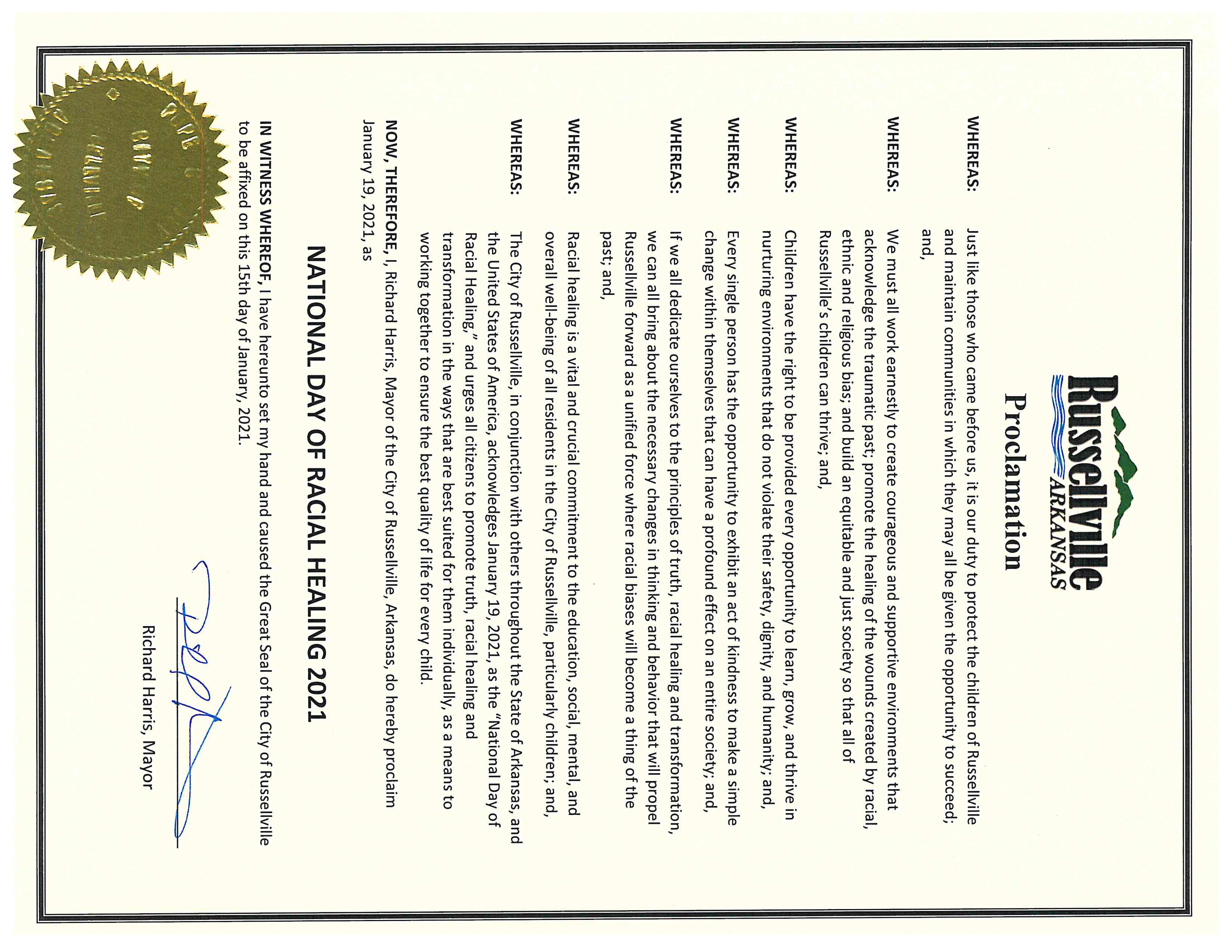 Proclamation - National Day of Racial Healing
